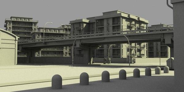 3d concrete city streets model