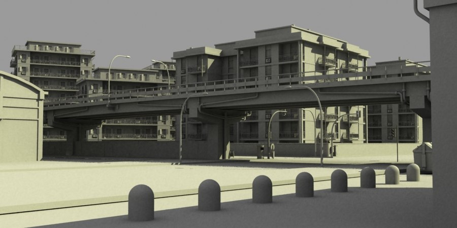 3d concrete city streets model