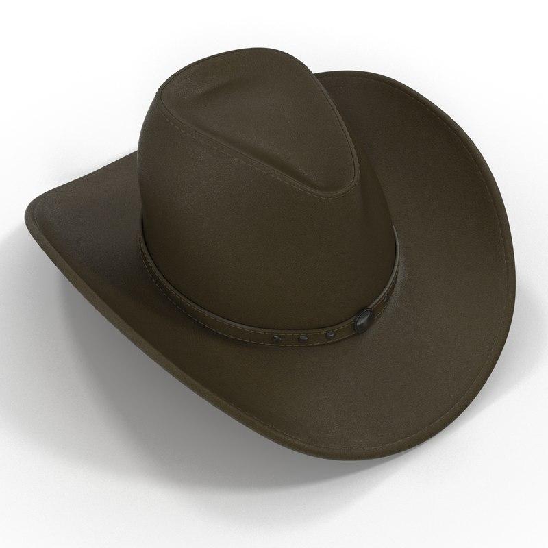 3d cowboy hat 2 modeled
