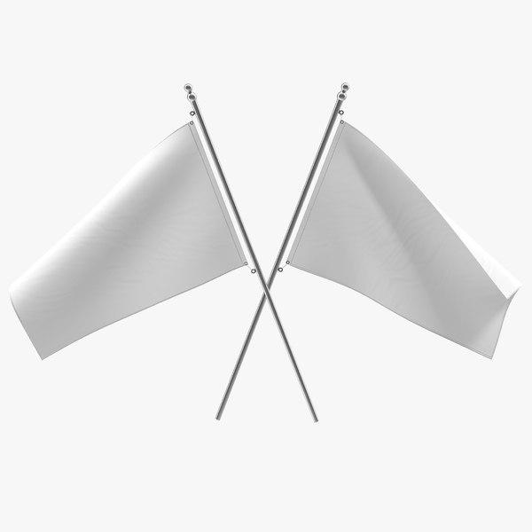 3d obj white flag modeled