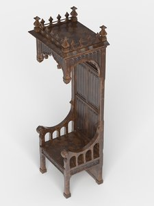 3d french throne model