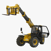 Telescopic Handler Forklift JCB 535 95 Yellow Rigged 3D Model