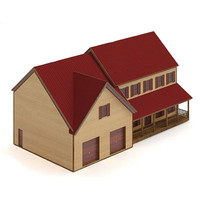 3d house cottage garages model