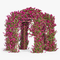 pergola bougainvillea flowers ivy 3d model