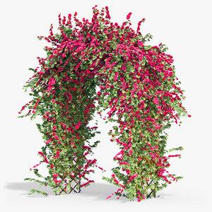 3d model pergola flowers ivy arch