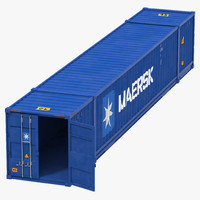 53 ft Shipping ISO Container Blue 3D Model
