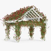 3d model pergola climbing roses flowers