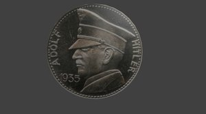 5 reichsmark coin 3d obj