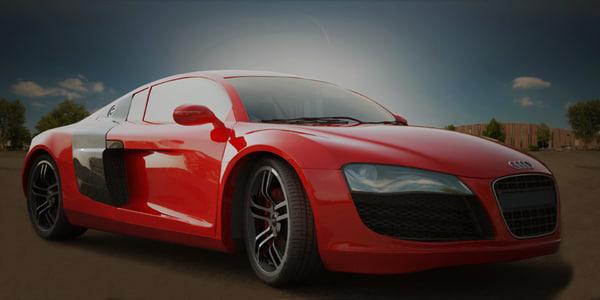 3d audi r8 sports car