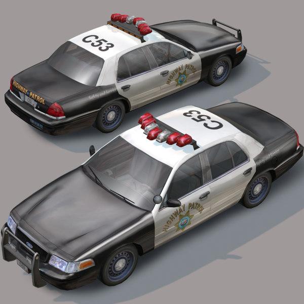 highway car wheel police 3d model