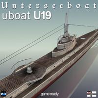 3d u 19 submarine u-19 model