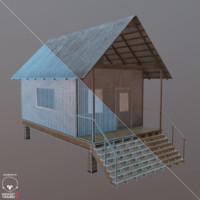 3dsmax weathered beach shack