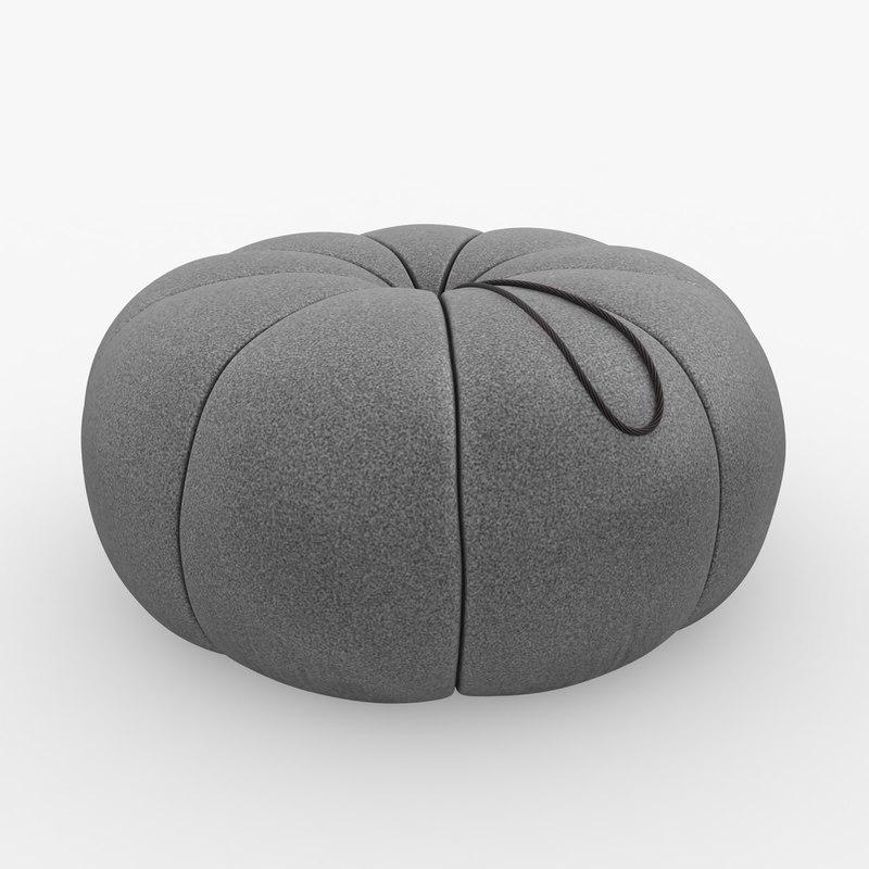 3d model pouf scanline