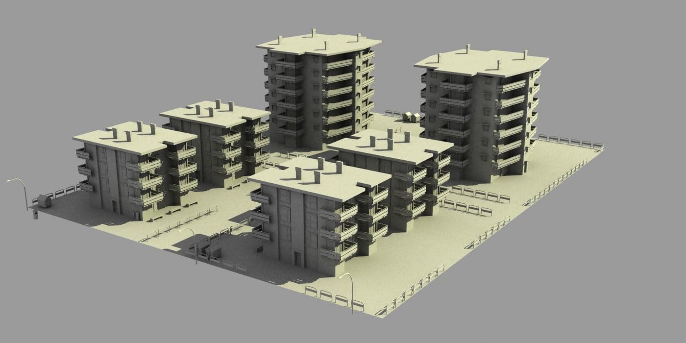 3d model city block 4
