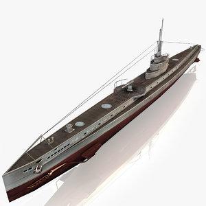 u submarine 3d model