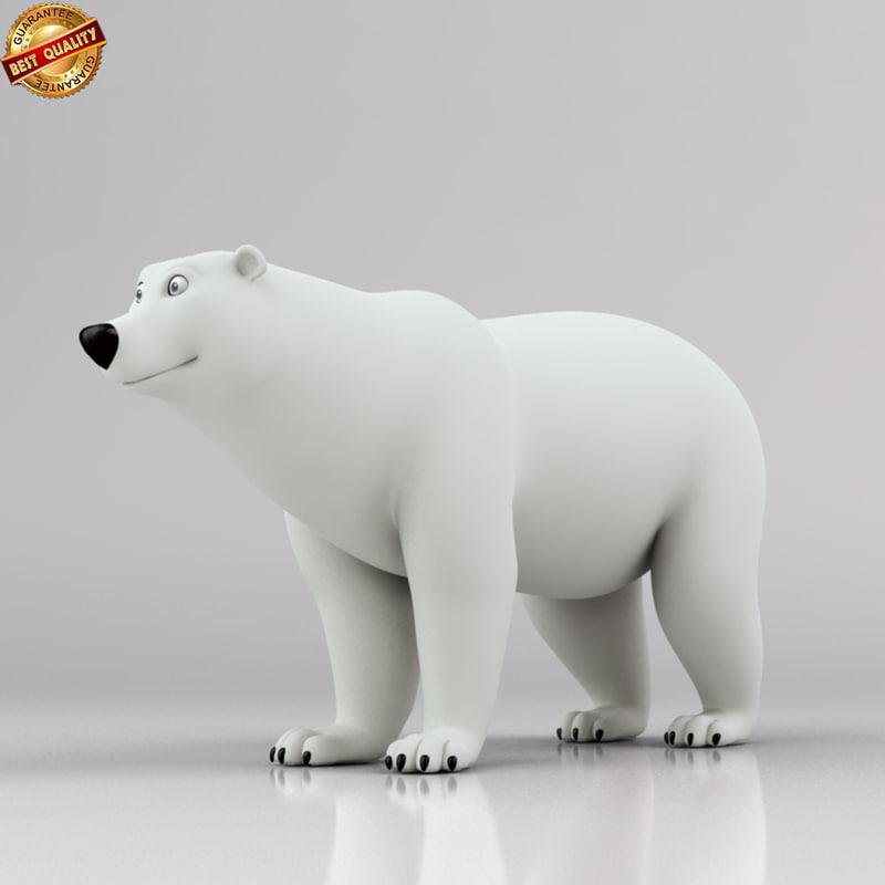 polar bear quadruped obj