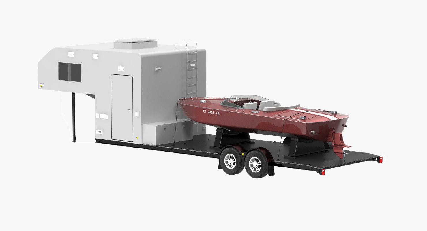 3d lowboy camper motorboat
