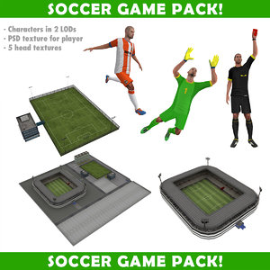3d soccer pack characters stadiums model