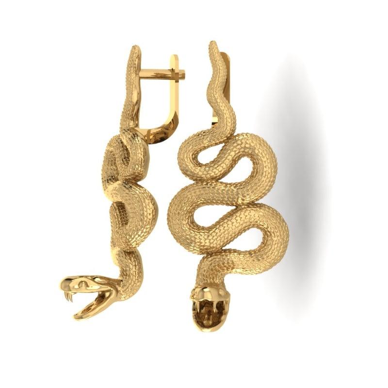 3d earrings snake