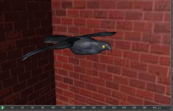 black bird glowing eyes 3d model
