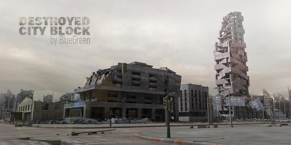 destroyed city block 3d 3ds