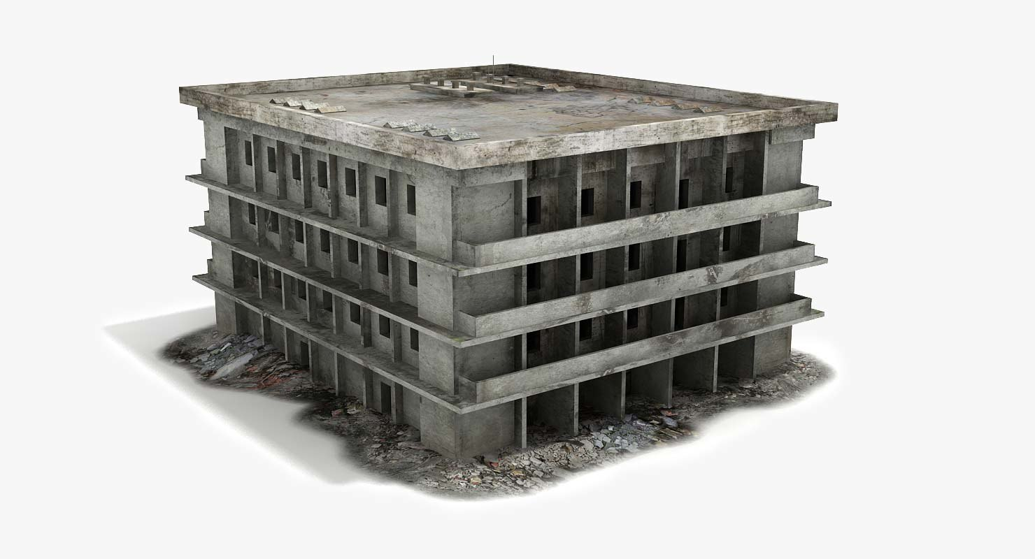 3ds max ruined destroyed building war