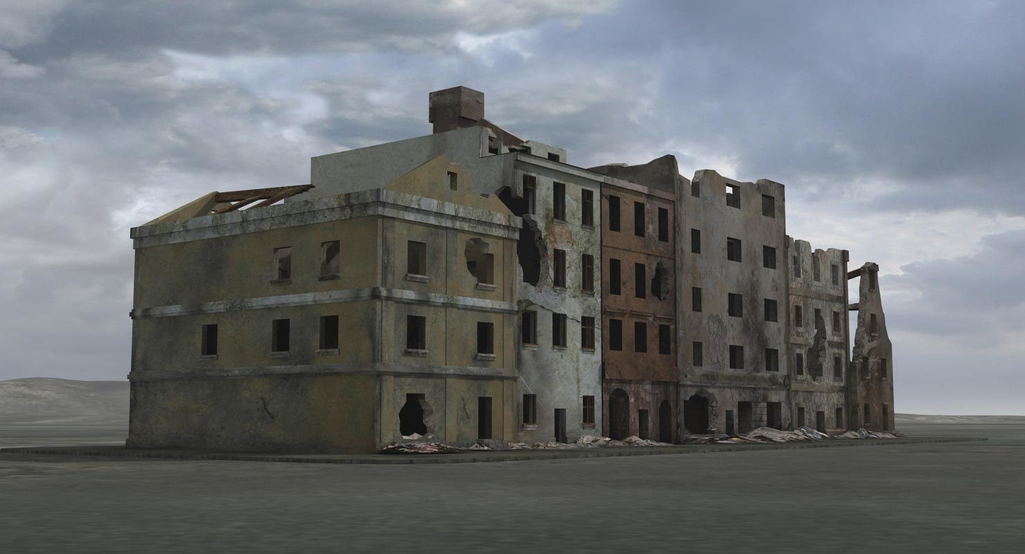ruined building city ww2 3d max