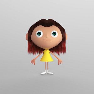 cartoon girl toon 3d max