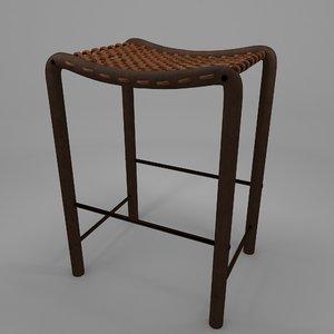 3d model wooden stool weave