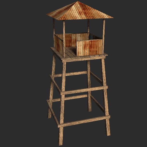 obj watchtower outpost wooden