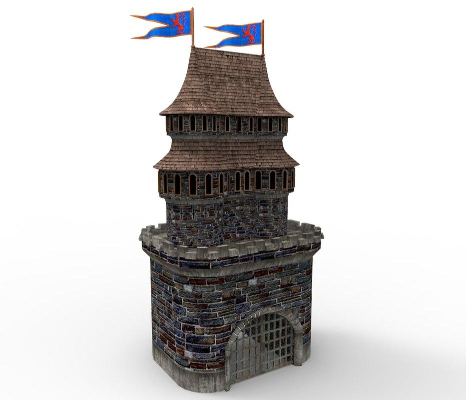 castle gate 3d fbx