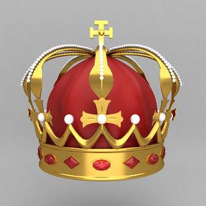 3d obj crown king ornaments