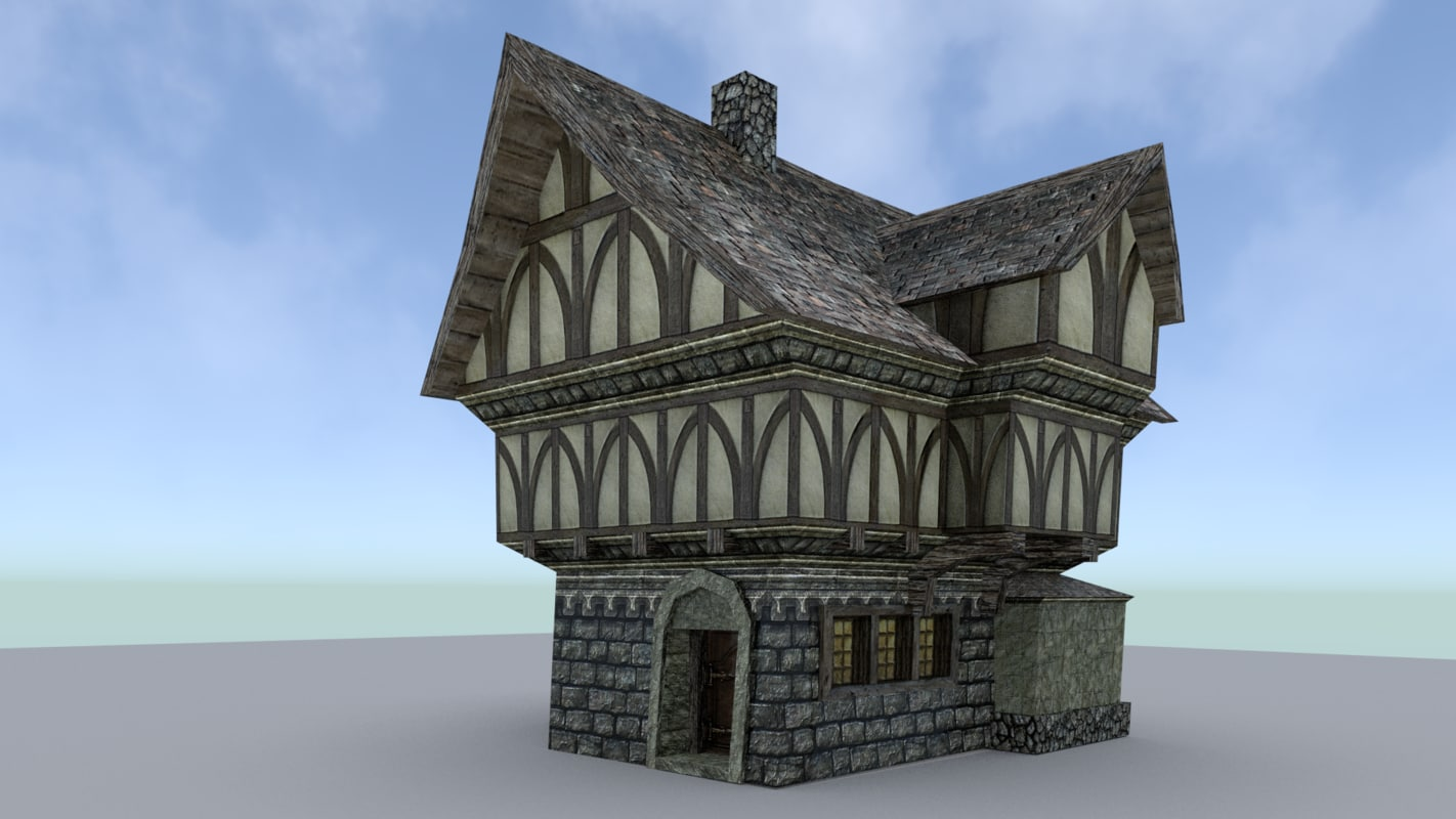 3ds 1 house medieval town