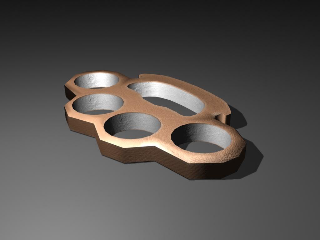 free brass knuckles 3d model