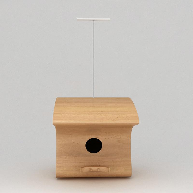 3d model birds wooden house shelter