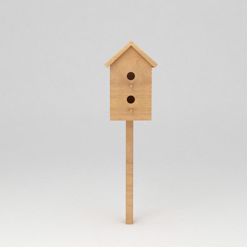 birds wooden house shelter 3d max