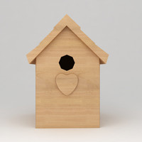 3d birds wooden house shelter model