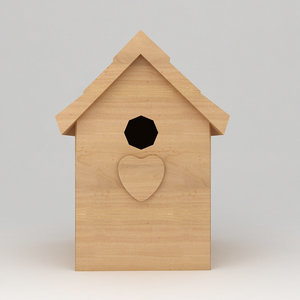 3d birds wooden house shelter model