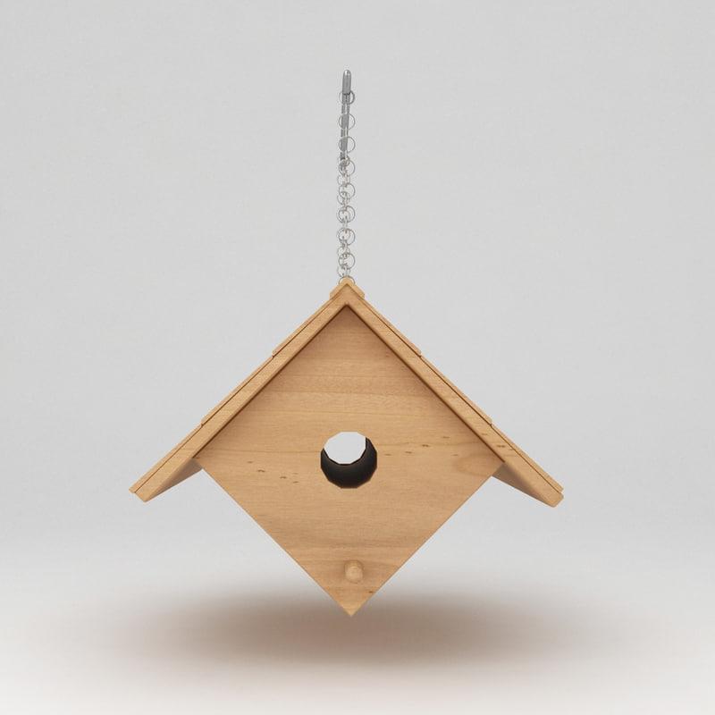 3d max birds wooden house shelter