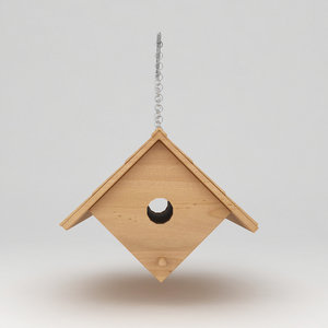 3d max birds wooden house shelter