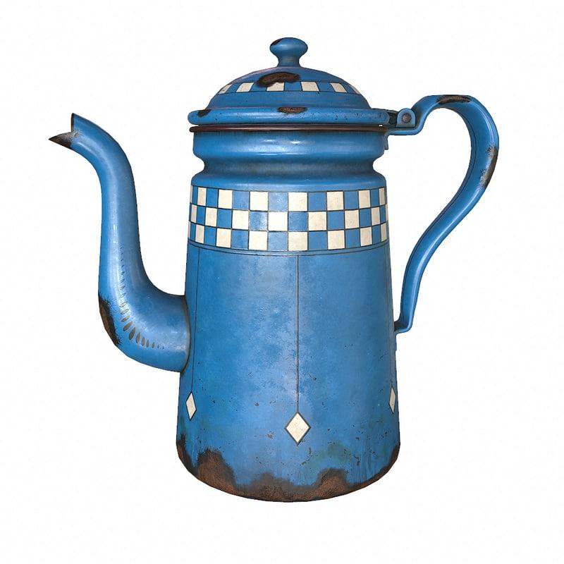 3d model enamel coffee pot