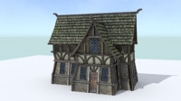 1 house medieval village 3ds