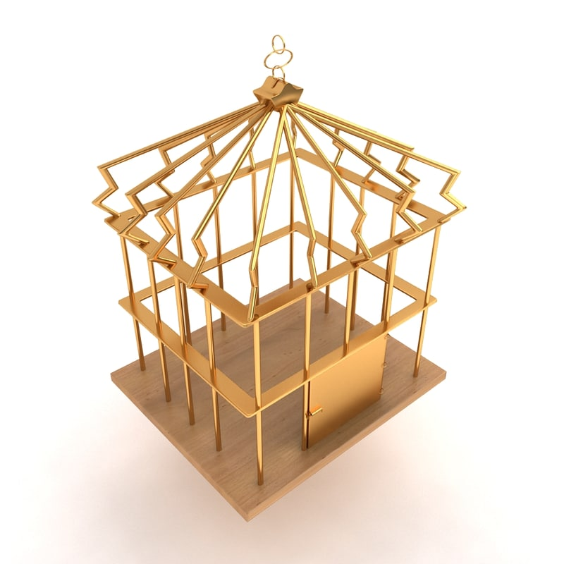 3d model of birds metal cage