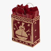 3d christmas bag red paper