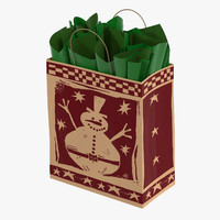 3d christmas bag green paper model