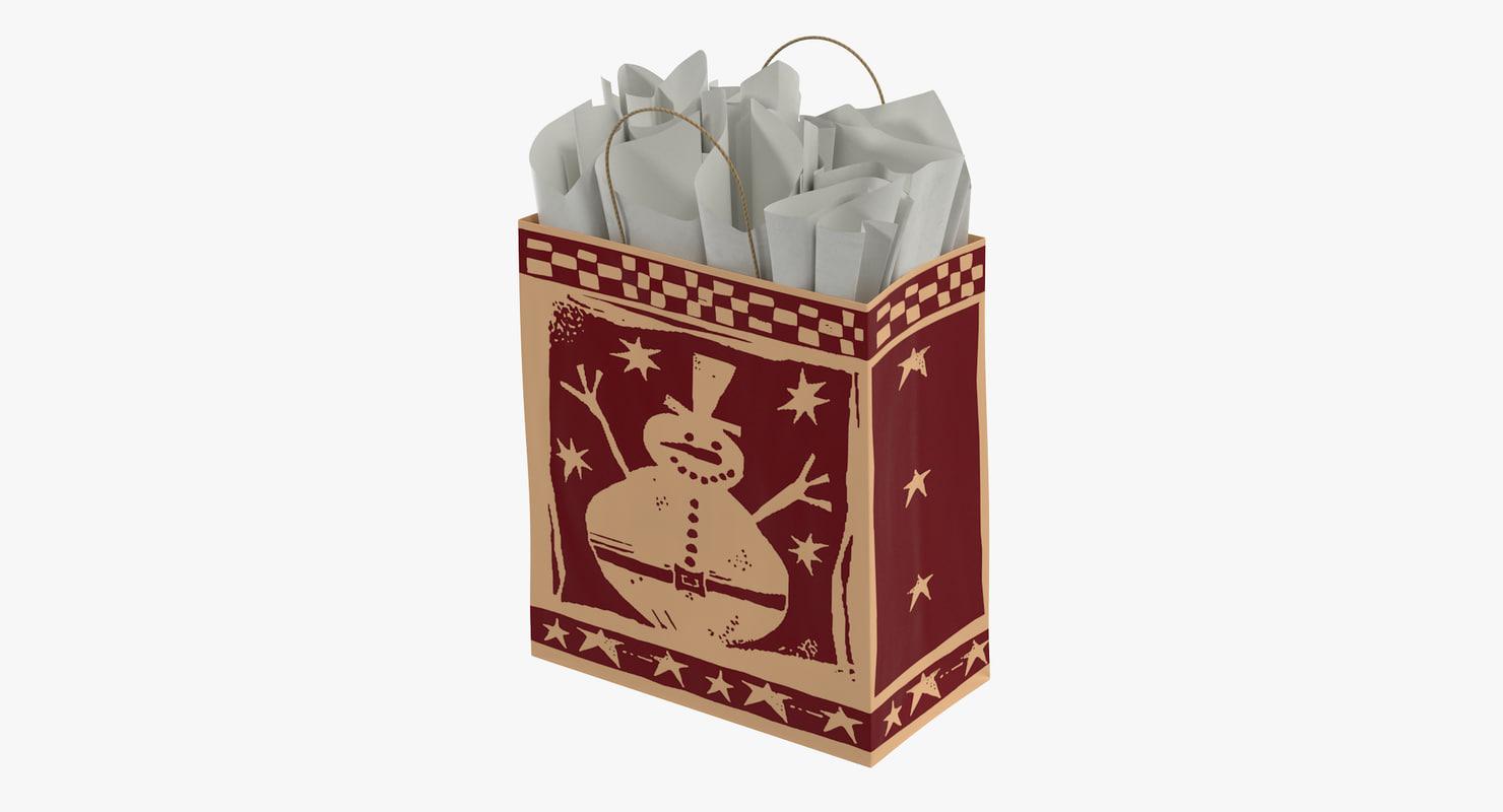 christmas bag white paper 3d model