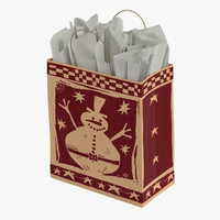 christmas bag white paper 3d model
