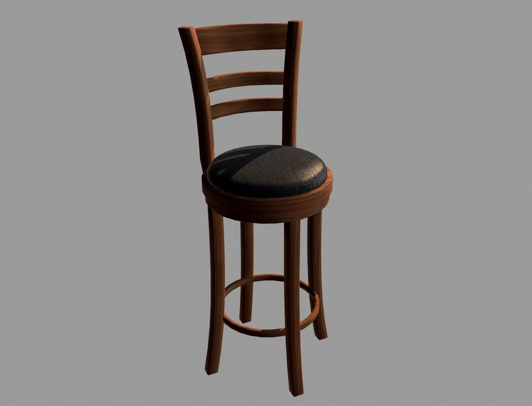3d wooden bar chair