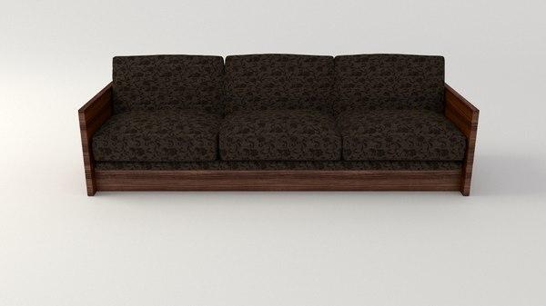 sofa retro cloth 3d model