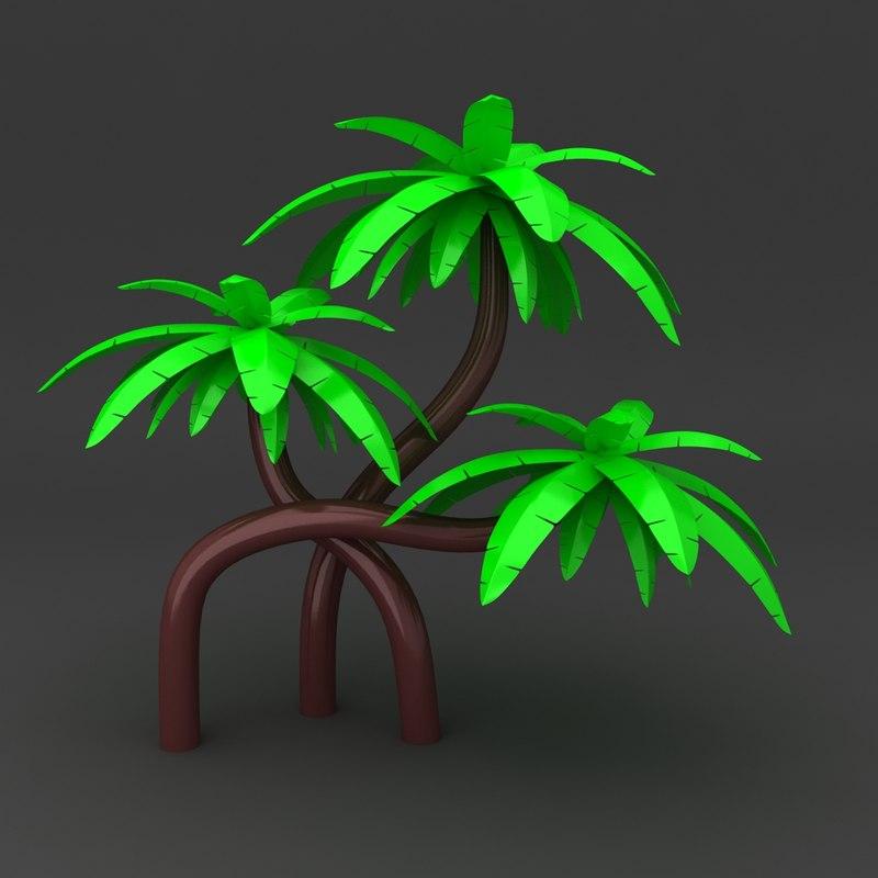 3d cartoon tree coconut model